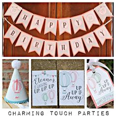 Up Up and Away Hot Air Balloon Party-In-A-Box by Charming Touch Parties. Pink, blue and coral and mint. Boutique 4 piece party pack. by CharmingTouchParties on Etsy