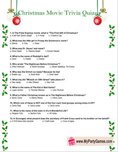 Today I have made these adorable Free Printable Christmas Movie Trivia Quiz worksheets that you can easily print using your home printer. Xmas Games, Printable Christmas Games, Holiday Games, Christmas Activities, Christmas Traditions, Holiday Fun, Holiday Trivia, Christmas Trivia Questions, Free Christmas Games