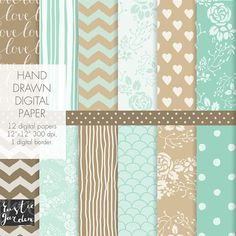 Floral wreath digital paper, mint green, beige, brown with flowers, chevron, polka dot, stripes, LOVE patterns for wedding decor, cards. PNG...