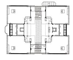 Plan and central atrium of one of the Apollo Schools. The atrium is a multifunctional space in the corner of which are transitional spaces t...
