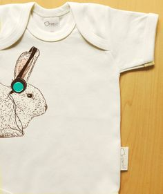 $18.75 Organic baby clothes headphones bunny cool by BoogalooBubbywear