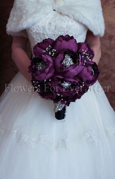Florence Purple Peony &  Brooch Bouquet by FlowersForEverAfter, $399.00