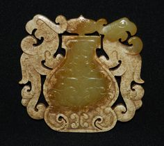 """Rare ChineseSpring and Autumn Period OldJade Carved Double-face 2 Bird """"Pei"""""""