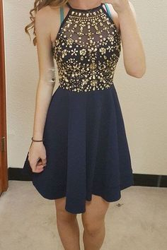 A-line prom dresses, beaded homecoming dresses, short prom dresses, navy blue homecoming dresses, party dresses, halter homecoming dresses#SIMIBridal #promdresses