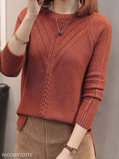 Round Neck Patchwork Elegant Plain Long Sleeve Knit Pullover - berrylook.com