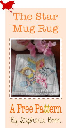 A free downloadable pattern! The patchwork star mug rug / coaster with easy to follow instructions and templates.  © Stephanie Boon, www.DawnChorusStudio.com 2013