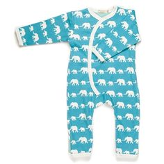 from babies with love - organic blue elephant print baby grow by Organics for Kids