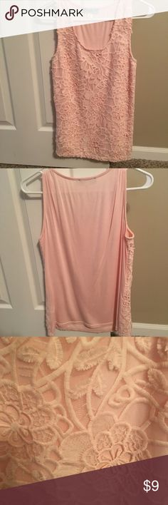 Pink tunic tank top size small EUC. Light pink with crochet on top. Size small. Check out my closet to bundle and save! Tops Tank Tops