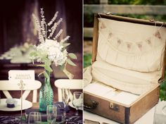 A little suitcase like this would be great for the bathrooms to put toiletries in for the wedding guests.