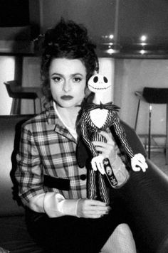 "Helena Bonham Carter with Jack Skellington character (Chris Sarandon) from movie ""Nightmare Before Christmas 1993"