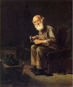 The Village Cobbler, 1903, is by John George Brown, 1831-1913) English-born American painter.
