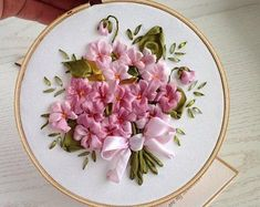 Items similar to Silk ribbon embroidery Bouquet of violets Anniversary gift for wife Floral embroidery hoop art on Etsy Ribbon Embroidery Tutorial, Silk Ribbon Embroidery, Embroidery Hoop Art, Hand Embroidery Designs, Floral Embroidery, Embroidery Patterns, Embroidery Supplies, Embroidery Stitches, Embroidery Tattoo