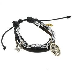 Black Leather Braided Bracelet with St. Benedict Charm - Adjustable Size, Sliding Tie Knot Closure Bracelets - Leather. $8.50