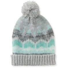 Aeropostale Après Ski Beanie ($7) ❤ liked on Polyvore featuring accessories, hats, chelsea fog, ski beanie, ski hat, pom pom beanie hat, beanie hats and print hats