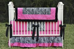 Zebra and Hot Pink Crib/Toddler 4 Piece Bedding Set
