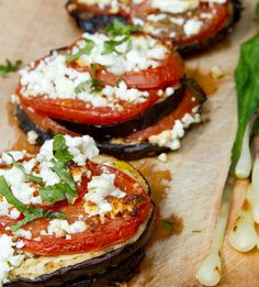 Grilled Eggplant w/ Tomato & Feta http://mazamag.com/recipe/grilled-eggplant-with-tomato-and-feta-2/