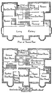 Gawthorpe Hall, 1st and 2nd floor.  Some parts of floor plan sub for Kitteridge House in Earl Crazy.