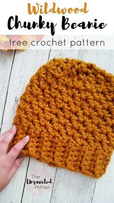 Wildwood Chunky Hat - Free Crochet Pattern at The Unraveled Mitten Chunky Crochet Hat, Crochet Hat For Women, Chunky Yarn, Crochet Yarn, Easy Crochet, Knitted Hats, Crochet Stitches, Crochet Adult Hat, Crochet Headbands