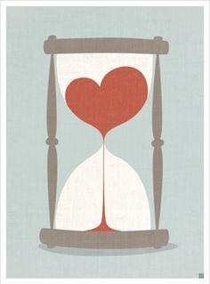 clock, creative, cute, drawing, heart, hearts, hour, hourglass, illustration, illustrazioni, love, red, time