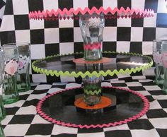 Record Coke Glass Cake & Cupcake Stand Retro Sock Hop 50s Rick Rack Party. $20.00, via Etsy.