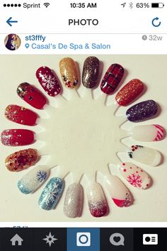 Christmas nail art wheel ! Winter glitz with shellac