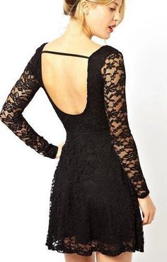 Date Night Fashion! Love this U-neck Long Sleeves Backless Black Lace Skater Dress #Black_Lace #Skater_Dress #Fashion