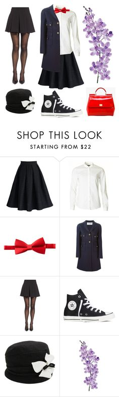 """marry poppins"" by luvmygurlz ❤ liked on Polyvore featuring Chicwish, Michelsons, Valentino, Falke, Converse, Parkhurst, Laura Cole and Dolce&Gabbana"