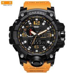 SMAEL Luxury Dual Display Men's Military Quartz Watch Shock Resistant Sports Digital