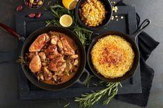 pollo alla cacciatora - skillet chicken and olives with rösti spaghetti and creamed corn