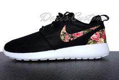 c8b51f43215b12 Nike Roshe Run One Black with Custom Pink Floral Print Cheap Nike Roshe