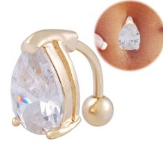 18K Gold reverse Belly Ring Navel piercing 14G white teardrop crystal jewelry
