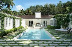 1940's miami beach home. Love the pavers  and grass