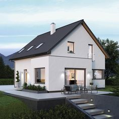 Modern family house ELK Haus 135 - ELK prefab house ➤ Detached house with pitched roof ✔︎ Pictures ✔︎ Floor plans ✔︎ View prices on HausbauDirekt. Prefabricated Houses, Prefab Homes, Town Country Haus, Skylight Design, Living Haus, Modern Family House, Home Design Floor Plans, Cottage Plan, Space Architecture