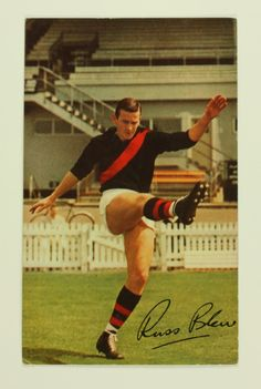 Victorian Football League football card featuring Essendon player Russell Blew, from the Mobil Football Photos, 1965 season. There were 40 cards in a series and these could be collected and pasted in a Mobil football photos album. Comments on the featured player were published on the back of the cards, written by Lou Richards, football journalist for the Sun News-Pictorial newspaper, Melbourne and ...