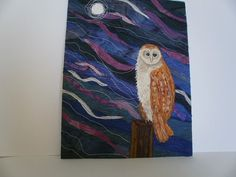 Owl Waiting Textile Art by wendieshouse on Etsy