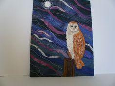 Owl Waiting Textile Art by wendieshouse on Etsy