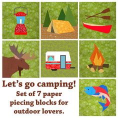 Let's go camping Set of 7 Paper pieced block by BubbleStitch, $14.00