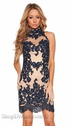 Sherri Hill Midnight Blue Lace Nude Mini Dress, OBSESSED. Please husband buy me this and take me somewhere I can wear it!!!!!!!!!!!!!!!!!!!!!!!!!