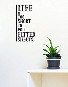 Wall Decor Plus More Life is Too Short to Fold Fitted Sheets Laundry Room Wall Decal Sticker Decor, 23 x Black Folding Fitted Sheets, Breast Cancer Survivor, First Year, Cancer Treatment, Wall Decal Sticker, Life Is Short, Laundry Room, Encouragement, Fitness
