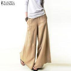 f1f9ed01b8362 2018 ZANZEA Automne Femmes Pantalons Longs Occasionnels Élégants Pantalons  à Jambes Larges Taille Élastique Poches Travail