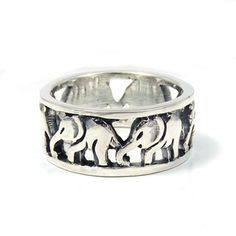Cut Out Thai Elephant Family Caravan Sterling Silver Ring (Thailand)   Overstock.com Shopping - Great Deals on Rings