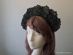 Marvelous Black Floral Headdress will make you stand out from the crowd! Materials: lace, wire frame, glass beads, fabric, handmade wire headband covered with brown fabric, elastic (goes under your hair).  One size fits all. Gorgeous accessory for racing, wedding, parties, photo shoot and other special events in your life!  Ready to ship