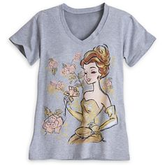 Our glittering Belle gets a contemporary makeover on this soft, stylish heathered v-neck tee for grown-up princesses, inspired by Disney's Beauty and the Beast. Description from ebay.com. I searched for this on bing.com/images