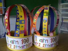 100 day hats... maybe instead of the stickers on the strips of paper they can write down different things they have learned so far