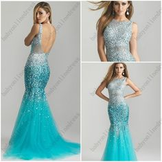 Mermaid Light Blue Chiffon Beads Sequins Crystals Long Evening Dresses Bandage Dresses with Open Back-in Evening Dresses from Apparel & Acce...