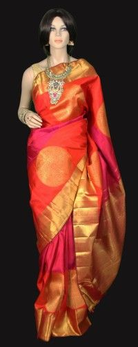 Contemporary Style Kanjeevaram Silk Saree in shades of pink and orange with large sari buttas