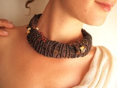 Necklace. NewTribeTextiles. Macrame with raw amber nuggets, glass and wooden beads, Tiger's eye and other stone beads
