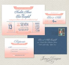 Watercolor Ombre Wedding Invitation with blush and navy full