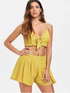 3f547e0e7d00e8 Shop for Dots Tie Front Top and Shorts Set BRIGHT YELLOW  Two-Piece  Outfits. ZAFUL