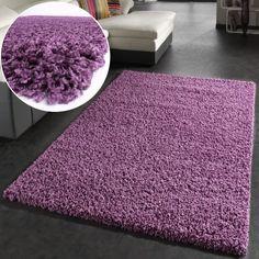 Shaggy Rug High Pile Long Pile Modern Carpet Uni Violet Purple, Dimension:160x220 cm: Amazon.co.uk: Kitchen & Home
